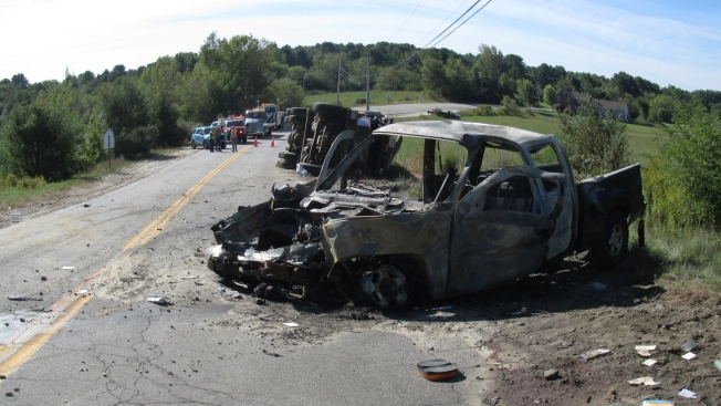2 Killed, 2 Injured When Pickup Truck, Dump Truck Collide in Durham, Maine