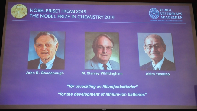 3 Win Nobel in Chemistry for Work on Lithium-Ion Batteries