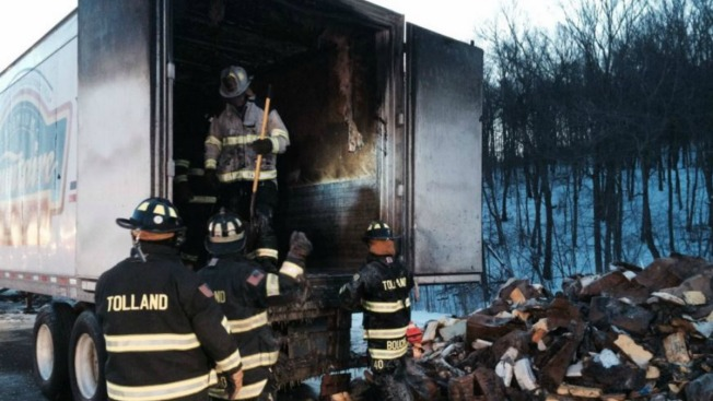 Truck Catches Fire on I-84 in Conn.