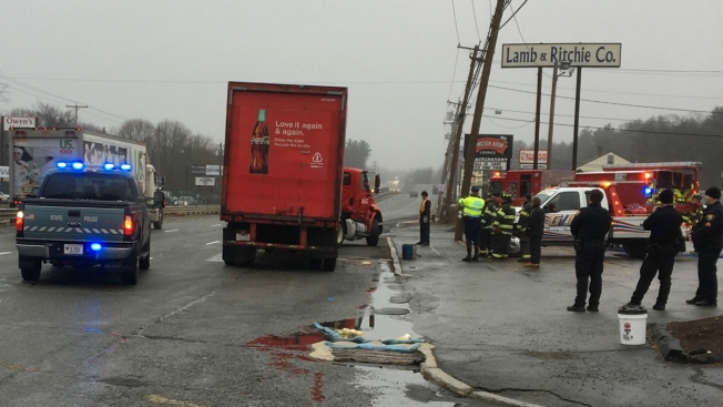 Coca-Cola Truck Jackknifes, Leaking Fuel on Route 1 in Saugus