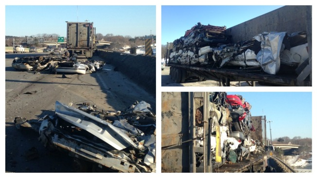 Crushed Cars Fall From Truck, Blocking Traffic