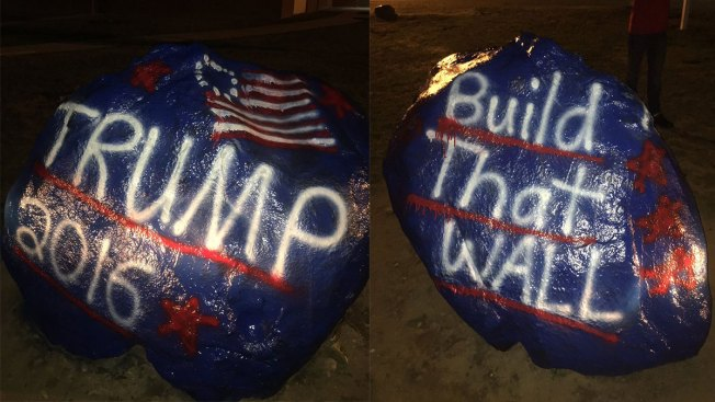 'Build That Wall': Students Paint Trump Support on School Rock
