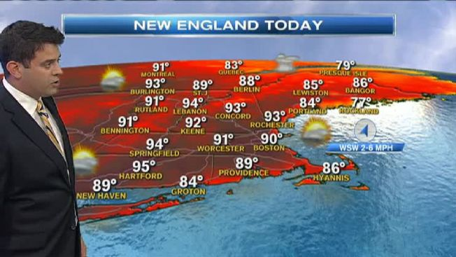 Heat Index Values to Near 100 Degrees for Some of New England Wednesday