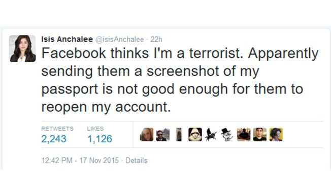 Woman Named Isis Had Facebook Account Temporarily Deactivated