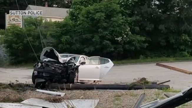 Car Crashes into Utility Pole in Sutton