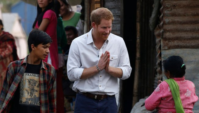 Prince Harry Visits Nepal Quake Victims, Damaged Structures