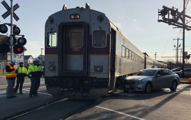 Commuter Rail Train, Car Collide in Stoughton