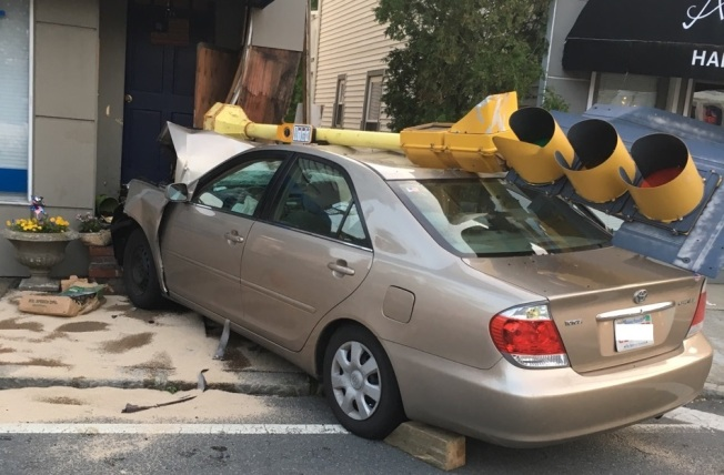 Car Hits Vehicle, Then Building in Swampscott, Mass.