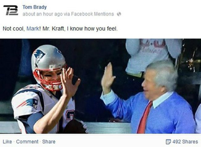 Tom Brady Posts Photo on Facebook of Him High Fiving Robert Kraft
