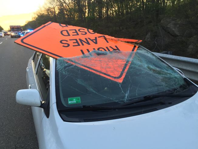 Police: Road Work Sign Goes Through Windshield of Distracted Driver's Car
