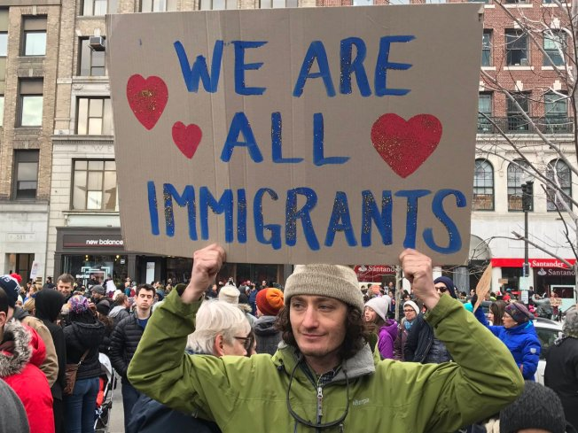 Thousands Gather in Boston's Copley Square to Protest Trump Travel Ban