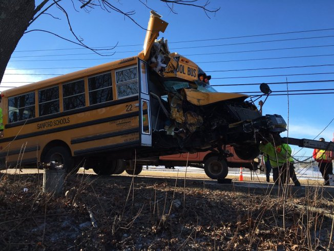 Driver Injured in School Bus Crash