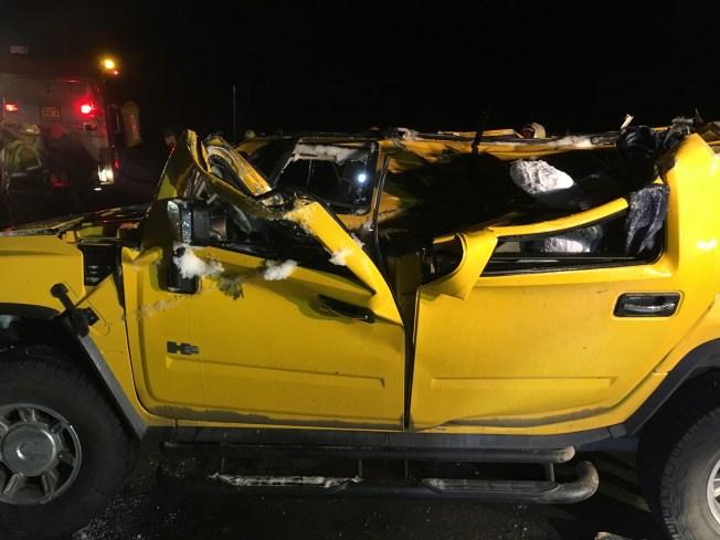 Three Injured When Hummer Flips, Lands in Water