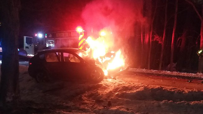 Passenger Rescued From Burning Car After Crash