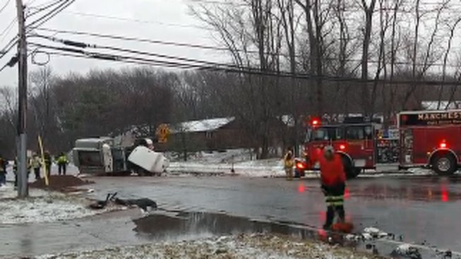 Fuel Spills in Manchester, Connecticut After Delivery Truck Rolls Over