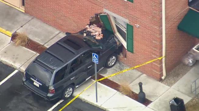 SUV Crashes Into Hotel in Danvers, Massachusetts