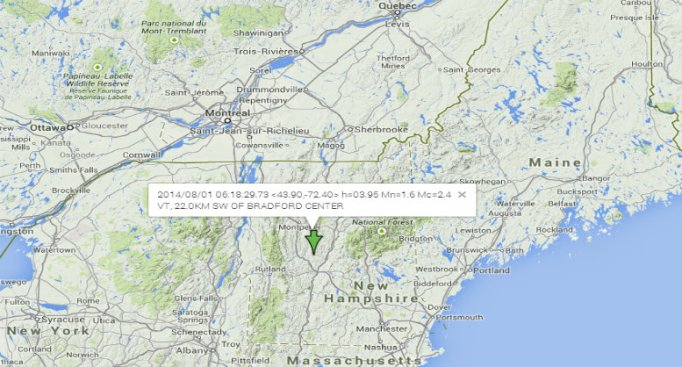 Minor Earthquake Reported in Vt.