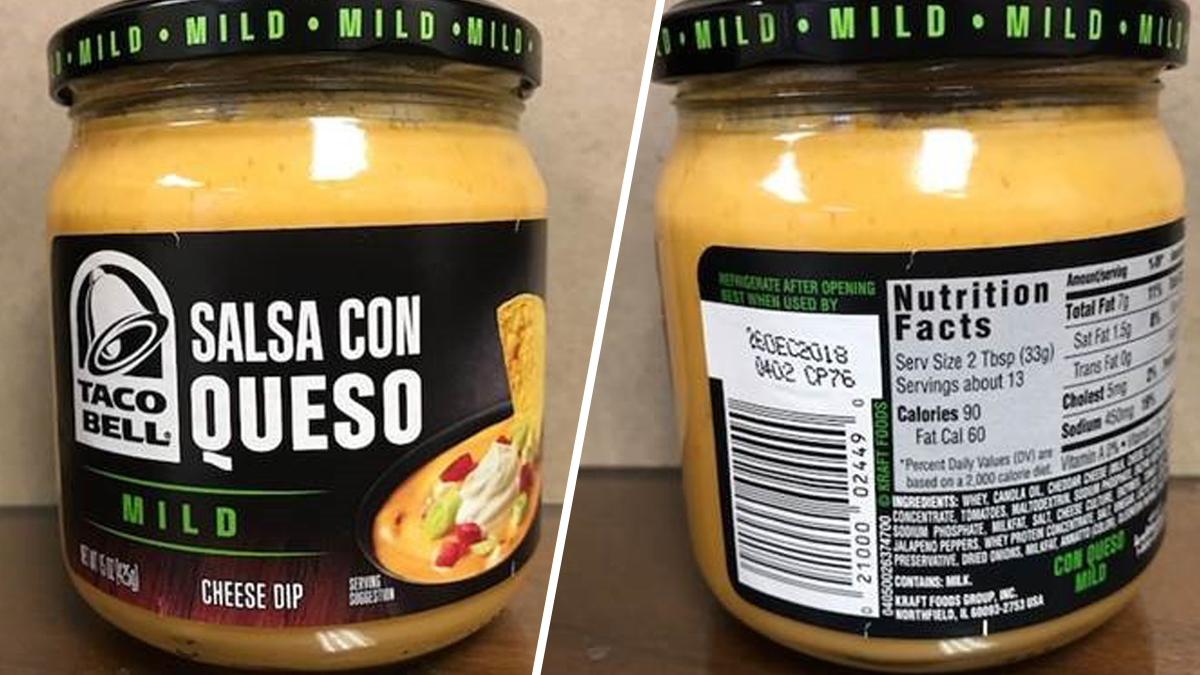 Kraft Heinz Company recalled certain 15-ounce jars of its Taco Bell Salsa Con Queso Mild Cheese Dip over a risk of botulism.